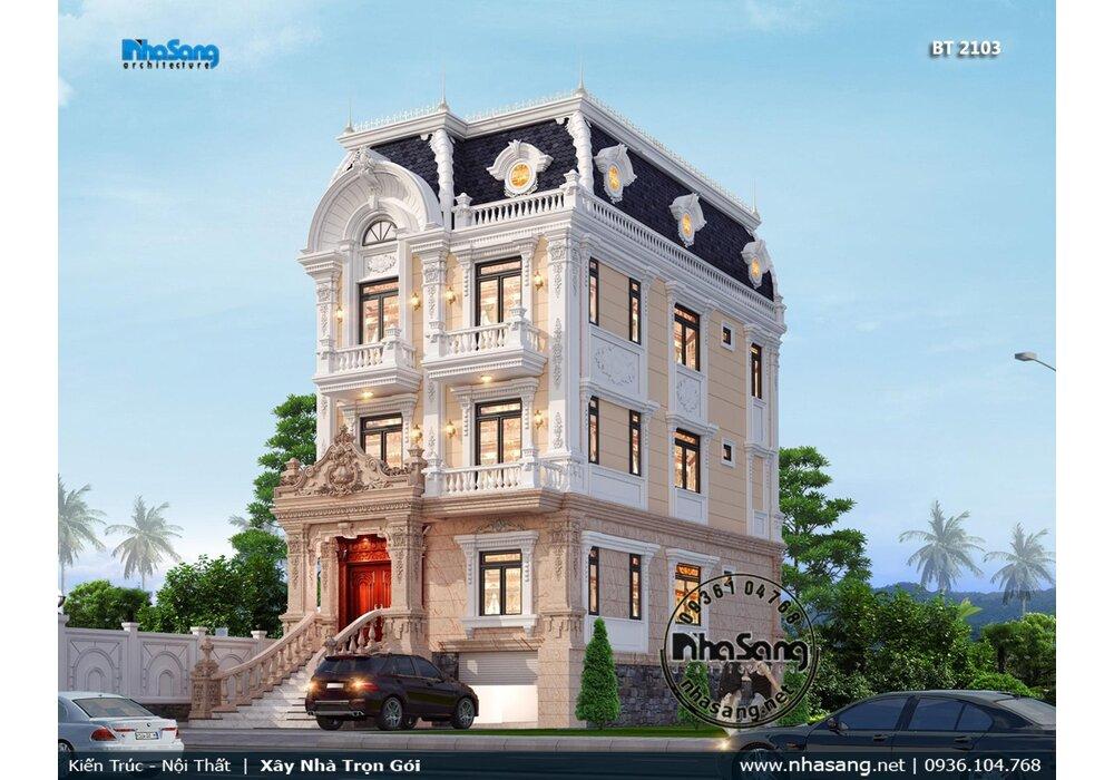 Thiết kế biệt thự 4 tầng mặt tiền 9m mái Mansard có bán hầm rộng BT2103