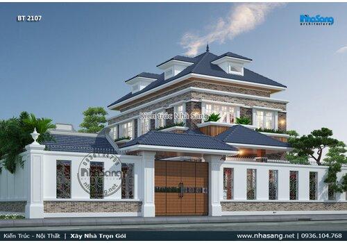 Mẫu nhà vườn 2 tầng mái thái đẹp với nhà thờ họ 3 gian tách biệt tại Thanh Hóa BT2107