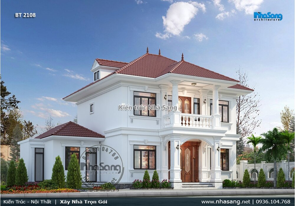 Vẻ đẹp trầm ổn mẫu biệt thự tân cổ điển 2 tầng mái Nhật dành cho người lớn tuổi ở quê BT2108