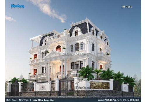 Thiết kế biệt thự 4 tầng kiểu Pháp mặt tiền trải rộng 18m x 11m quyền lực BT2111