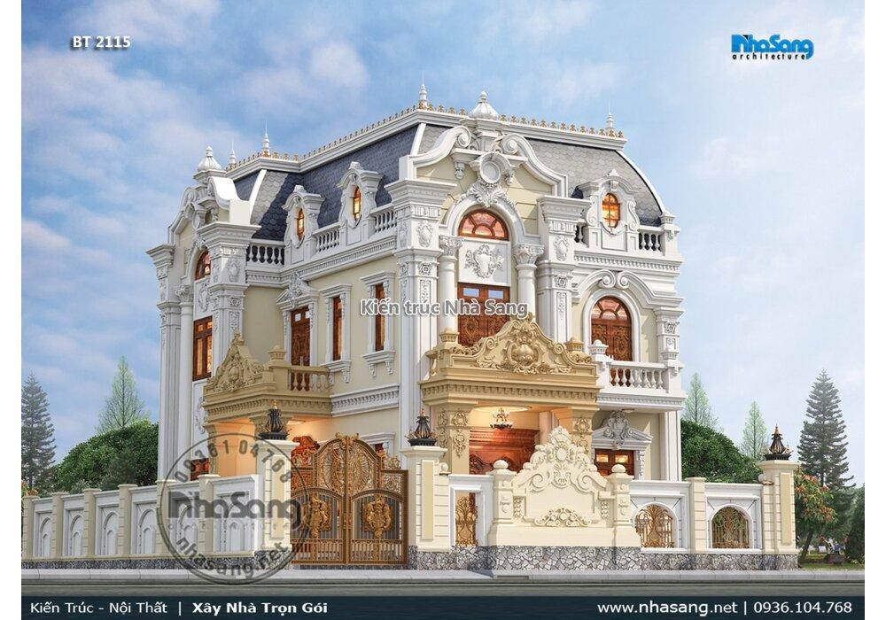 Bật mí mẫu biệt thự 3 tầng mái mansard vẻ đẹp thống trị vượt thời gian BT2115