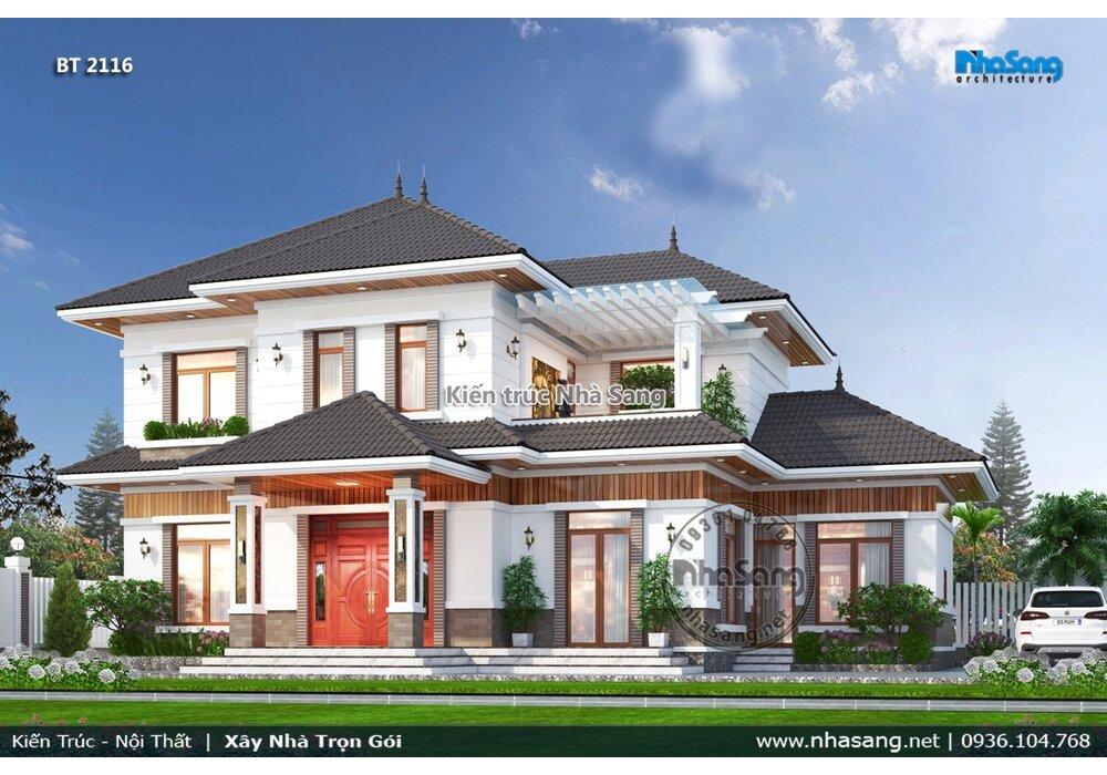 Bản vẽ biệt thự 2 tầng mái Nhật 04 phòng ngủ phù hợp nông thôn Việt BT2116