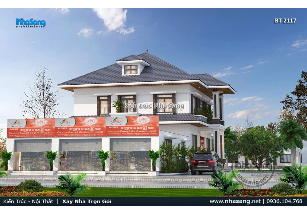Giải pháp thiết kế nhà sân vườn 2 tầng mái Nhật để ở kết hợp cửa hàng kinh doanh liền kề KT2117