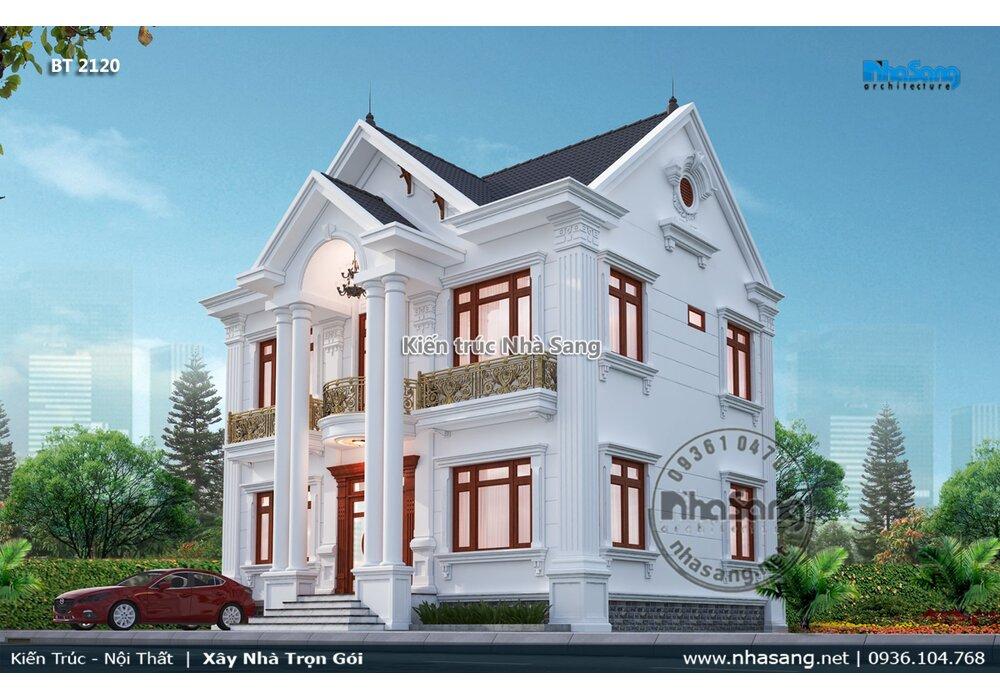 Trình làng mẫu biệt thự 2 tầng tân cổ điển mái thái 11m x 8m đẹp quý phái BT2120
