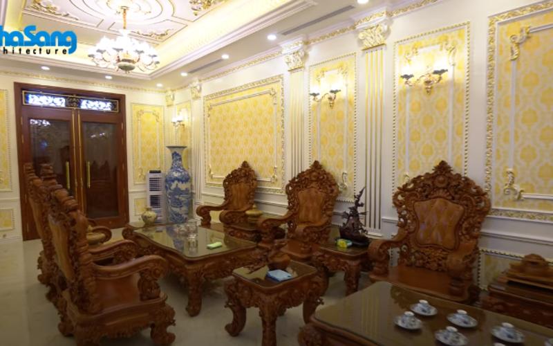 Nội thất gỗ quý dát vàng lộng lẫy biệt thự Pháp 3 tầng tại Nam Định BT17357