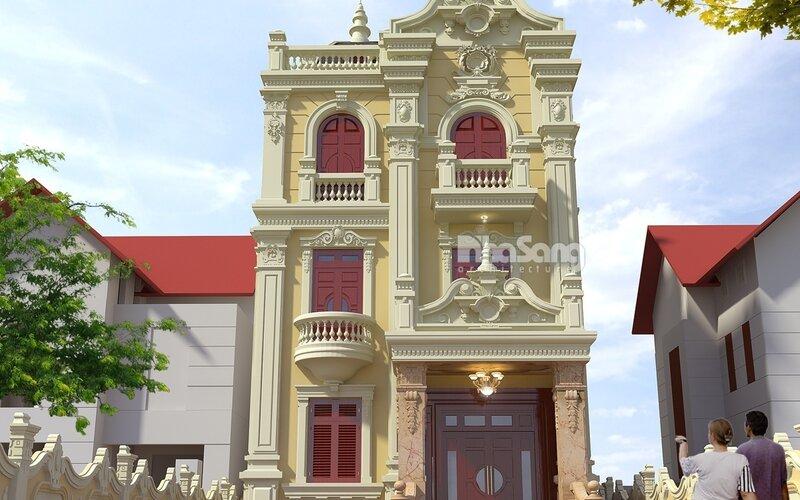 Biệt thự phố tân cổ điển mặt tiền 8m 3 tầng BT15008