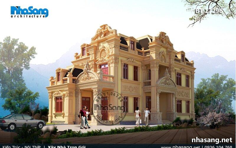 Biệt thự cổ kiểu Pháp 2 tầng đẹp Hưng Yên BT17296