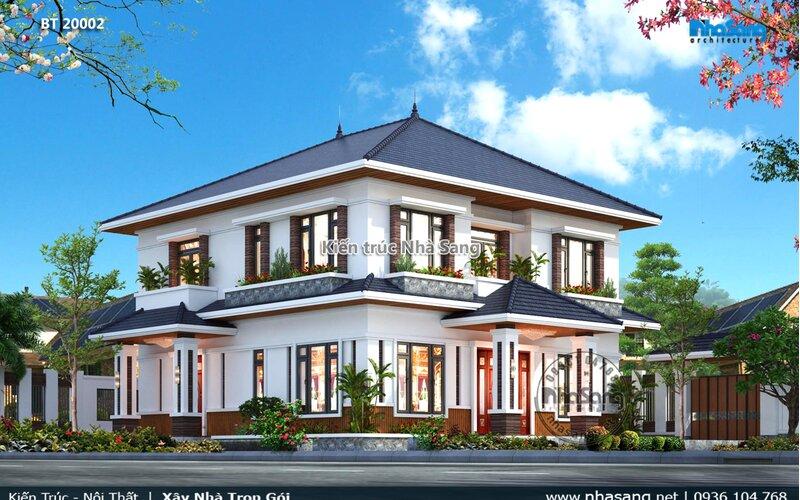 Mẫu nhà vuông 2 tầng mái thái tại nông thôn BT20002