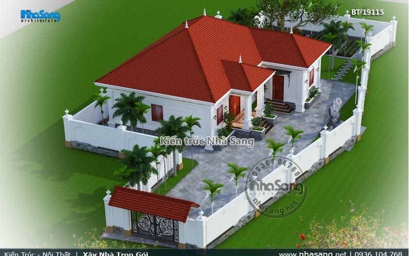 Yên bình nhà vườn Châu Âu 1 tầng tại làng quê Hải Dương BT19115