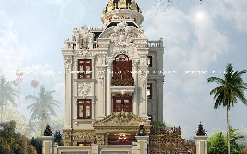 Mẫu thiết kế lâu đài 4 tầng đẹp mặt tiền 7m BT17009