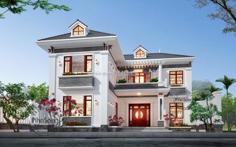 Nhà vườn mái thái chữ L Bắc Ninh BT2012