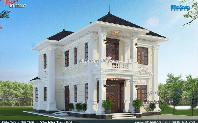 Nhà vườn 2 tầng tân cổ điển đơn giản Hải Phòng BT20007