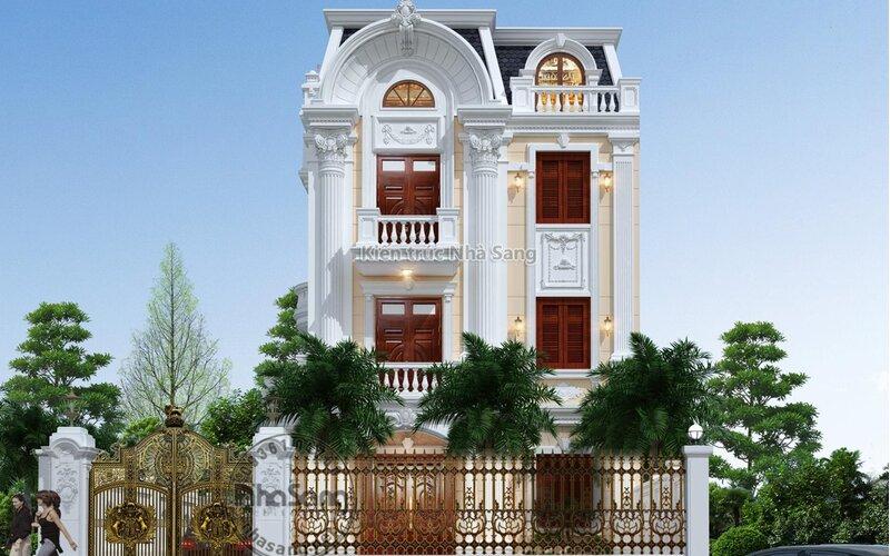 Biệt thự tân cổ điển mặt tiền 8m 3 tầng BT2023