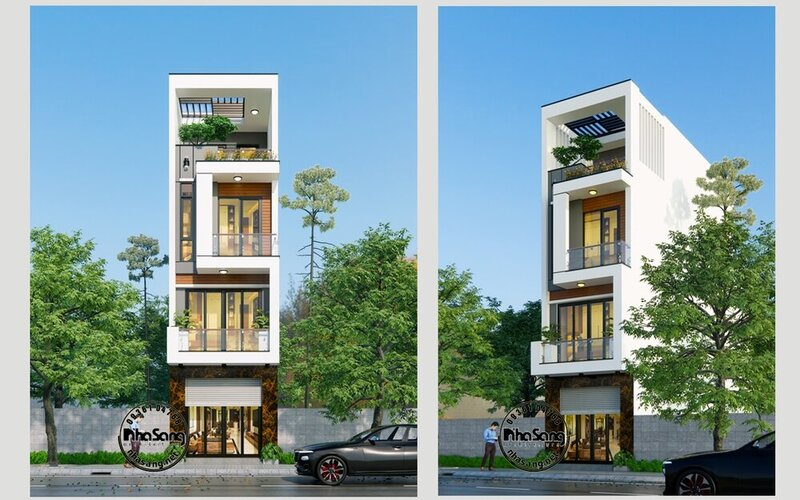 Mẫu nhà lô phố 4 tầng kiểu hiện đại BT2101