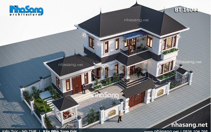 Nhà vườn 2 tầng mặt tiền 10m có gian bếp tách riêng BT16044
