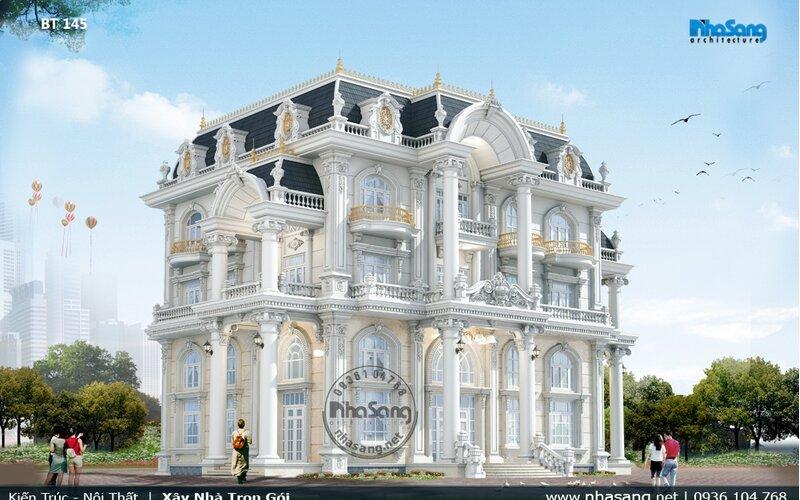 Dinh thự Pháp thông tầng 500m2 sàn Quảng Ngãi BT145