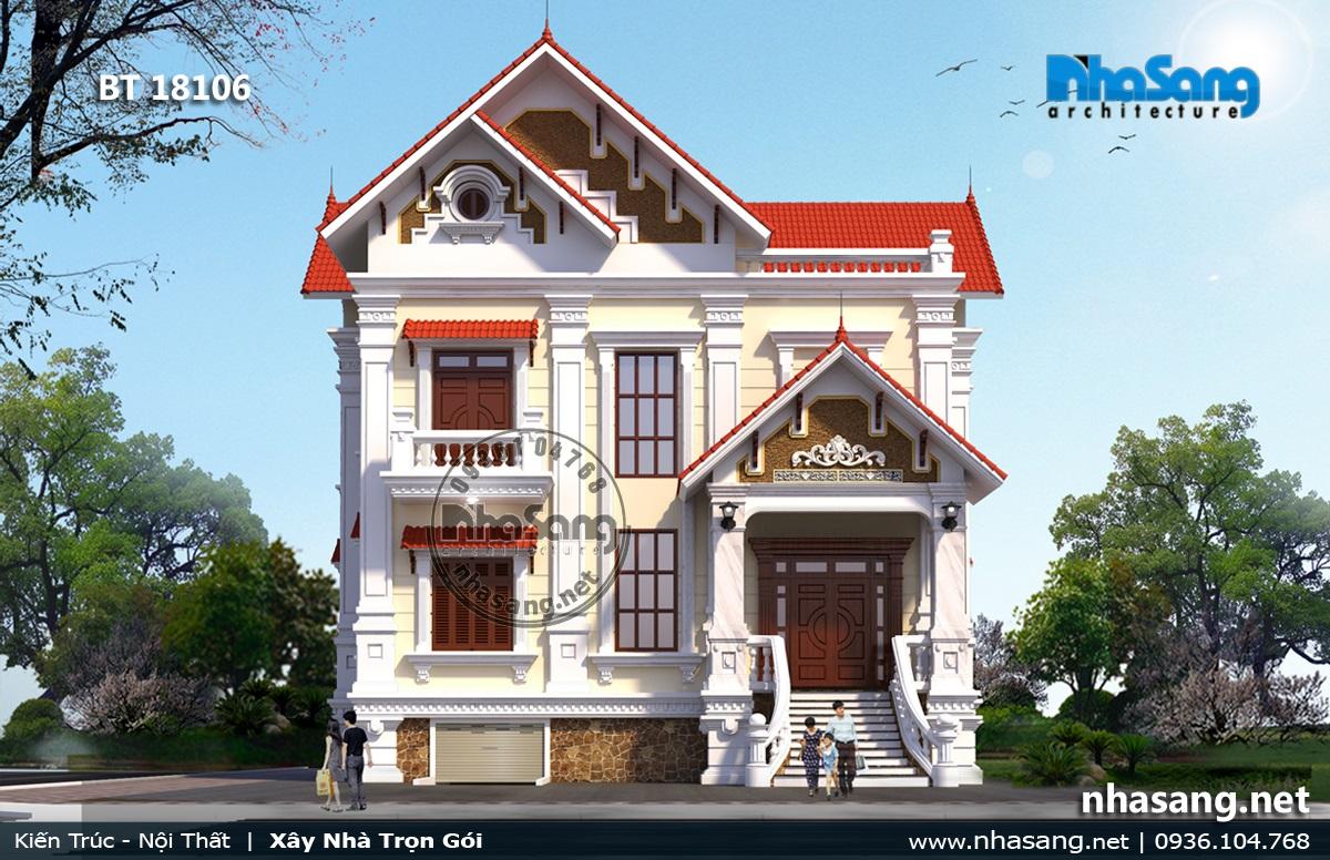 Mẫu nhà 2 tầng mái ngói 18106