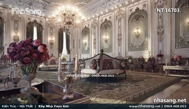 phòng khách siêu biệt thự lâu đài