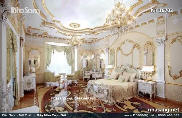 phòng ngủ chính tân cổ điển biệt thự lâu đài
