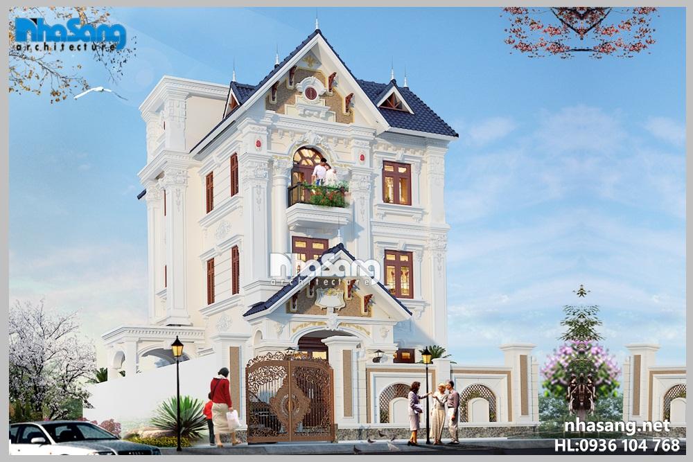 Biệt thự đẹp: 3 tầng mặt tiền 7,3m x 12,1m Kiến trúc Pháp