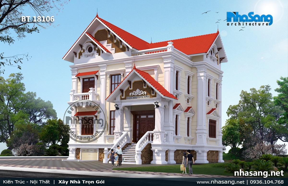 Mẫu nhà 3 tầng - 2 Tân cổ điển