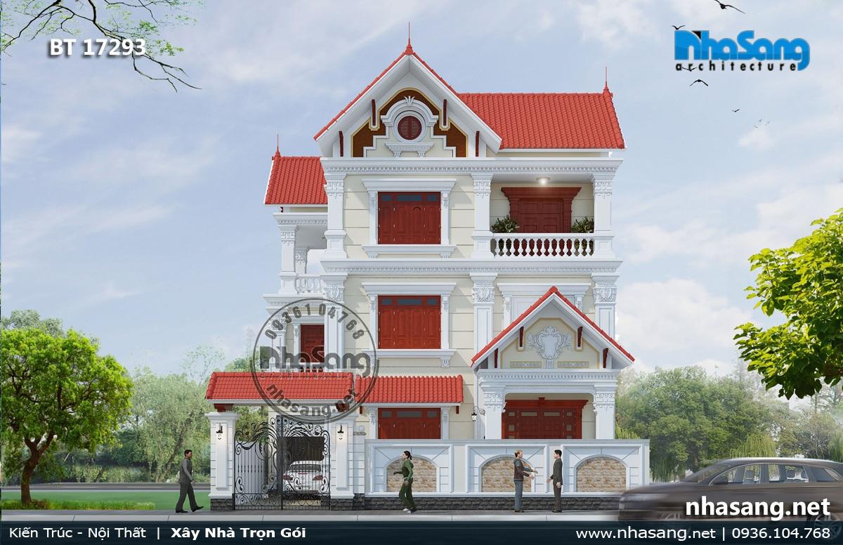 Mẫu 10: Nhà 3 tầng tân cổ điển mái Thái 9x12m