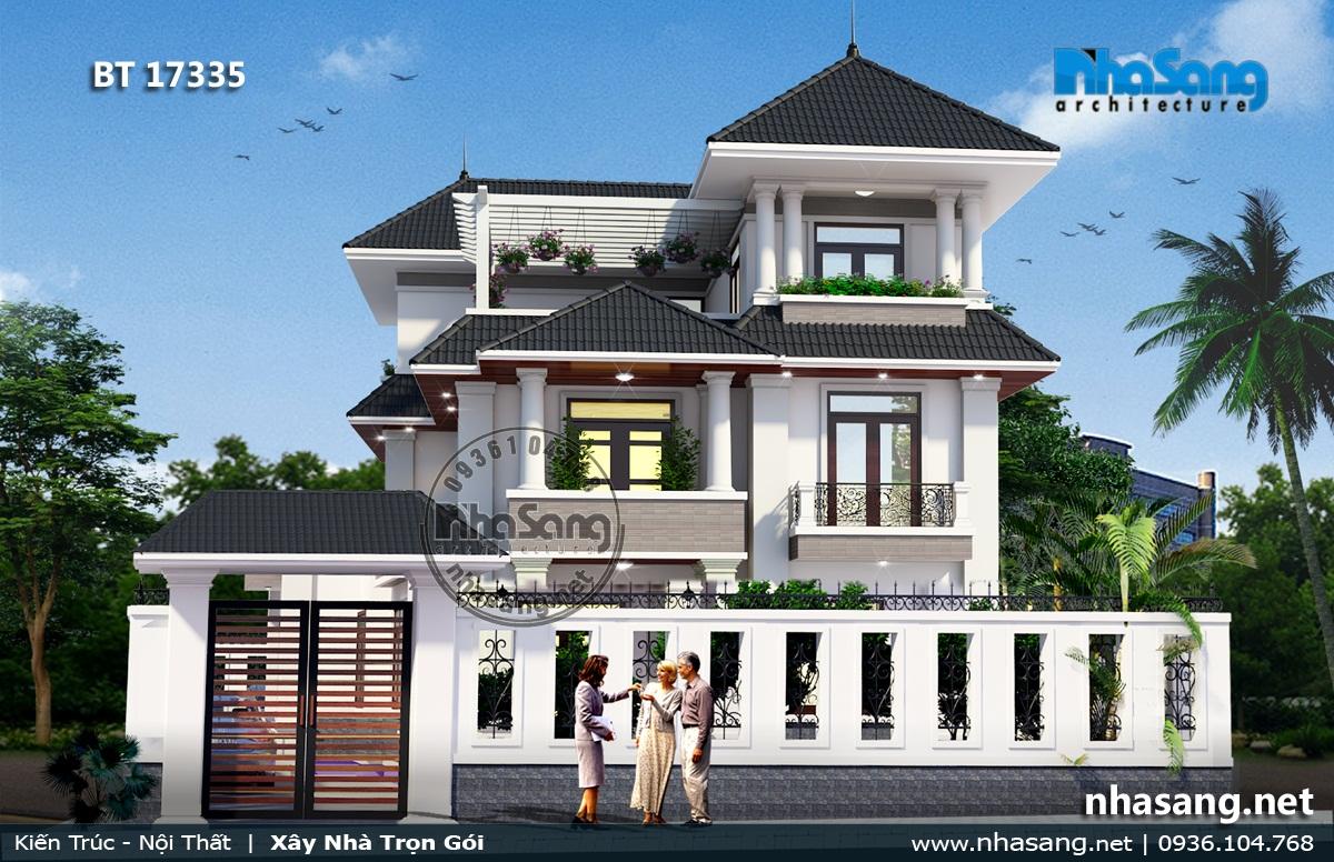 Mẫu 7: Nhà 3 tầng mái Thái