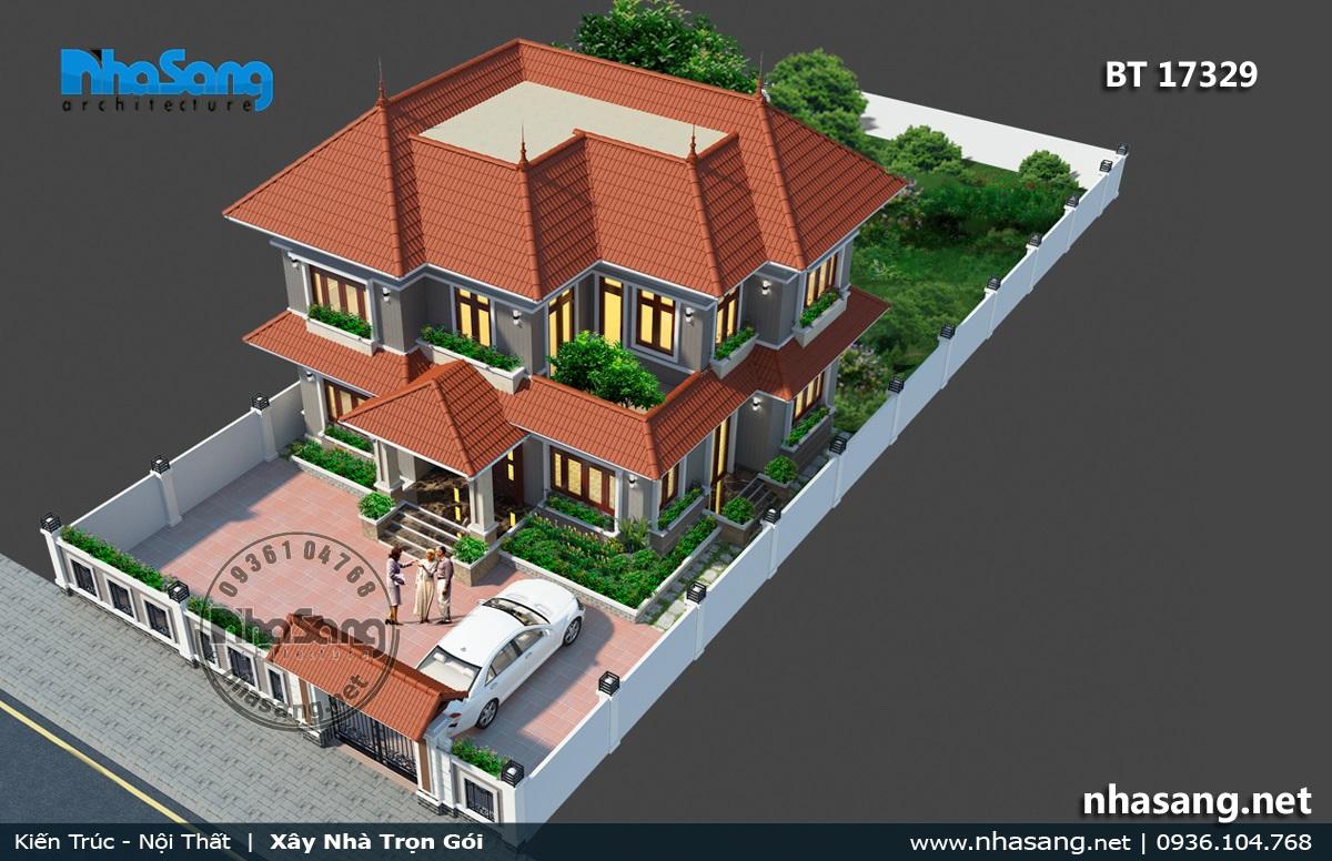 Biệt thự vườn 2 tầng mái thái 17329