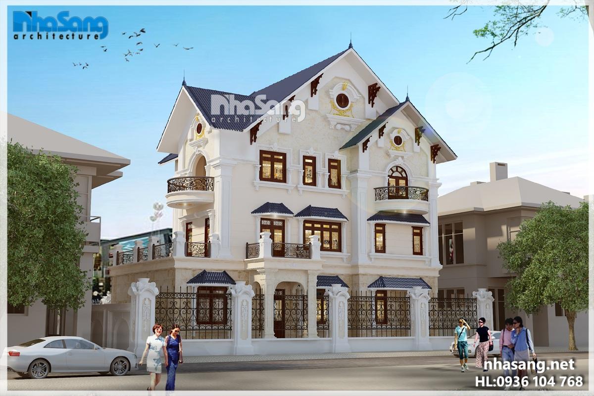 thiết kế dinh thự 3 tầng Nhà Sang