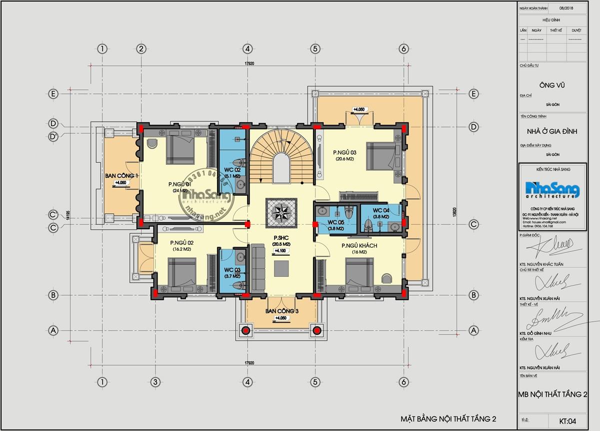 lâu đài trắng - Mặt bằng tầng 2