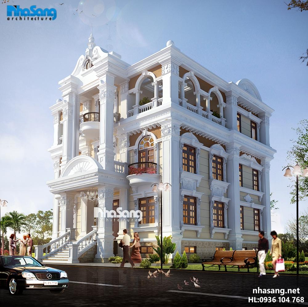 mẫu thiết kế biệt thự đẹp kiến trúc Pháp bt14182