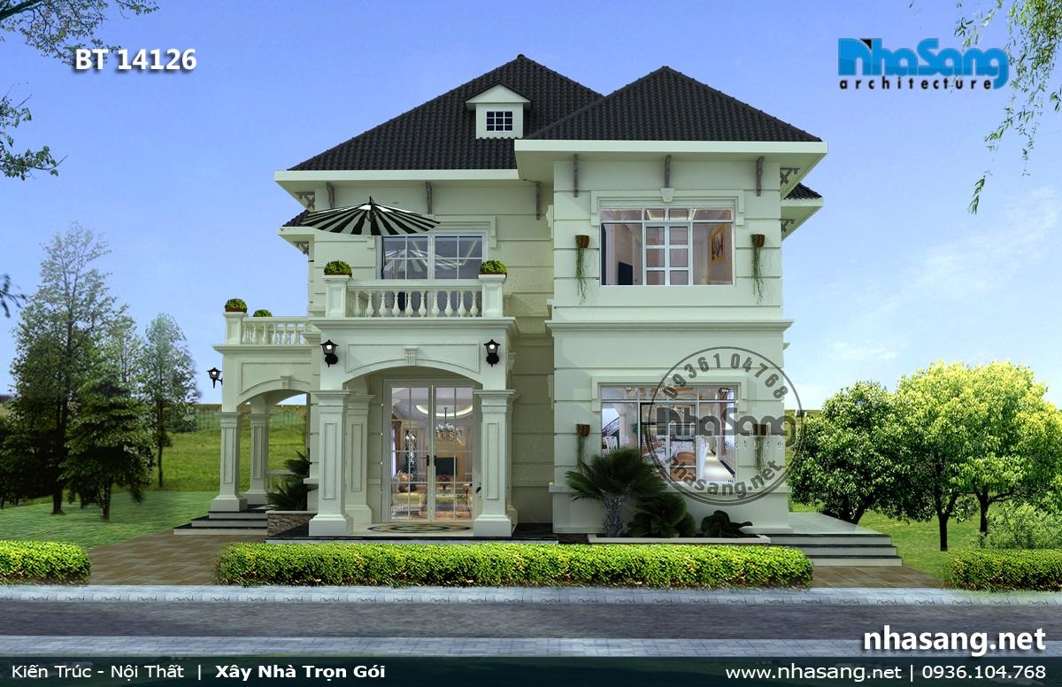 Mẫu thiết kế nhà biệt thự 2 tầng tân cổ điển