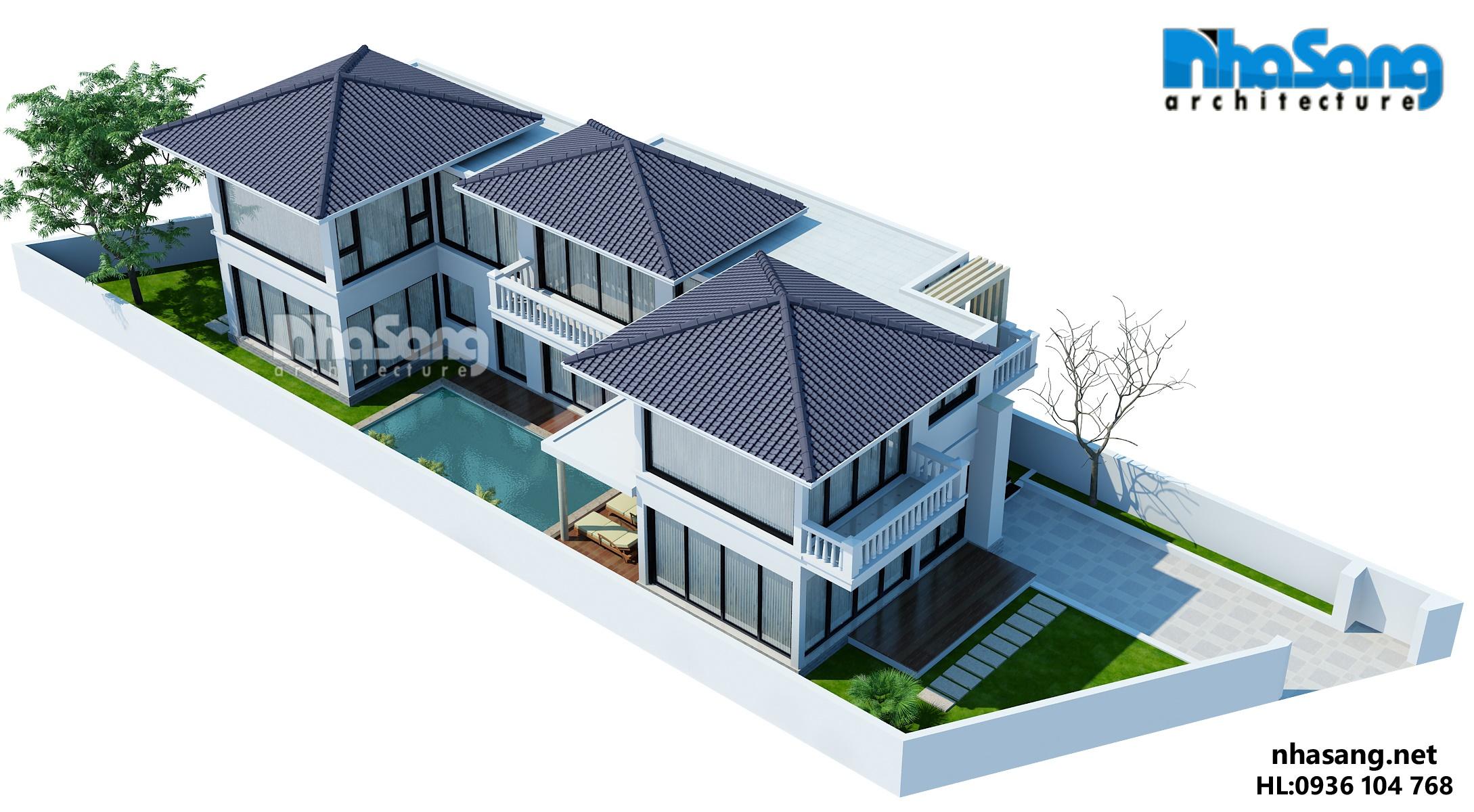 mẫu thiết kế nhà biệt thự vườn 2 tầng đẹp
