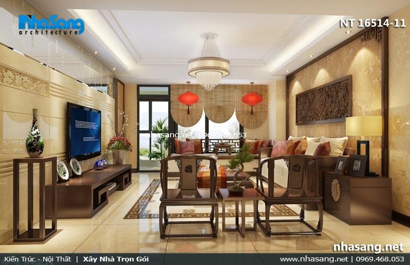 mẫu phòng khách đẹp với bộ sofa gỗ gụ