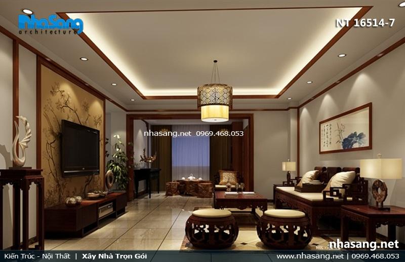phòng khách á đông đẹp 4m5 x6m