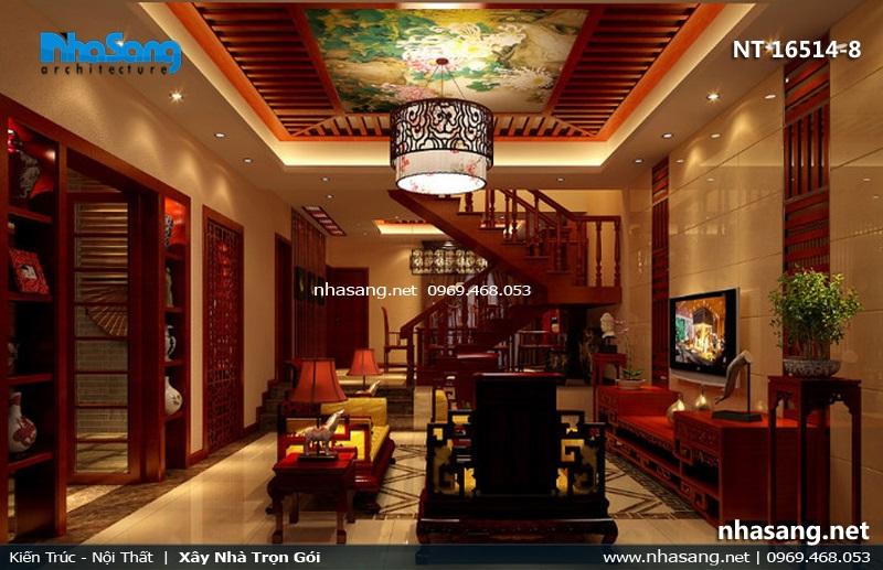 Mẫu phòng khách đẹp với gỗ gõ đỏ