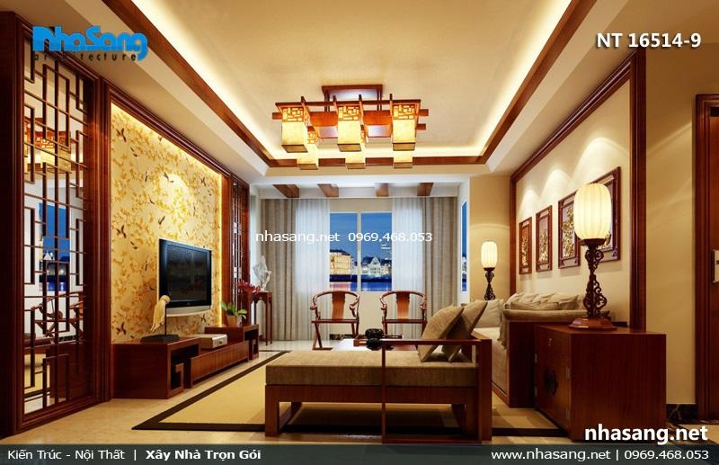 mẫu phòng khách đẹp Á đông hiện đại