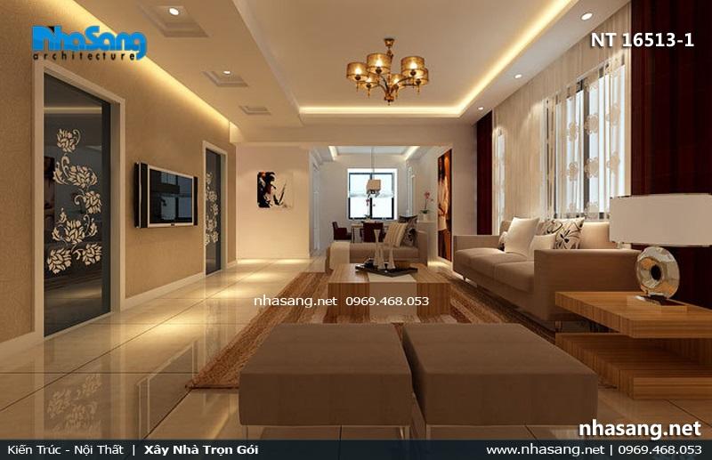 phòng khách nhà ống 5mx8m hiện đại