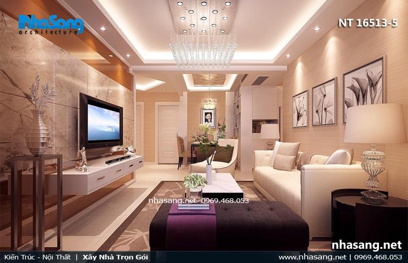 Phòng khách nhà ống 4.5m hiện đại sang trọng