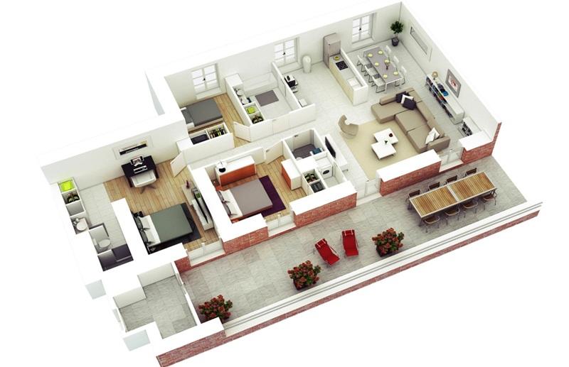thiết kế căn hộ chung cư 100m2