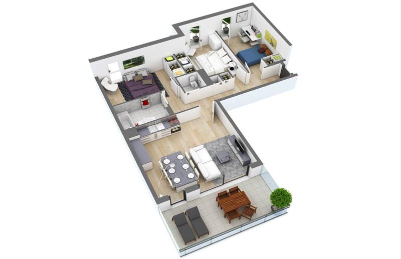 thiết kế nội thất căn hộ chữ L 100m2 3 phòng ngủ