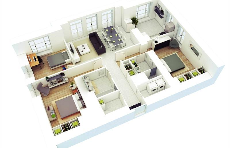 3D nội thất căn hộ 120m2