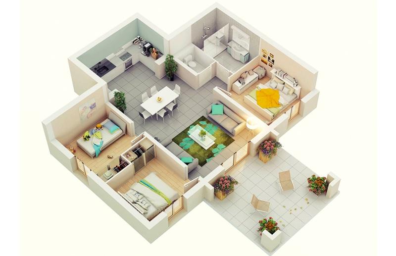mô hình 3D căn hộ 3 phòng ngủ đối xứng