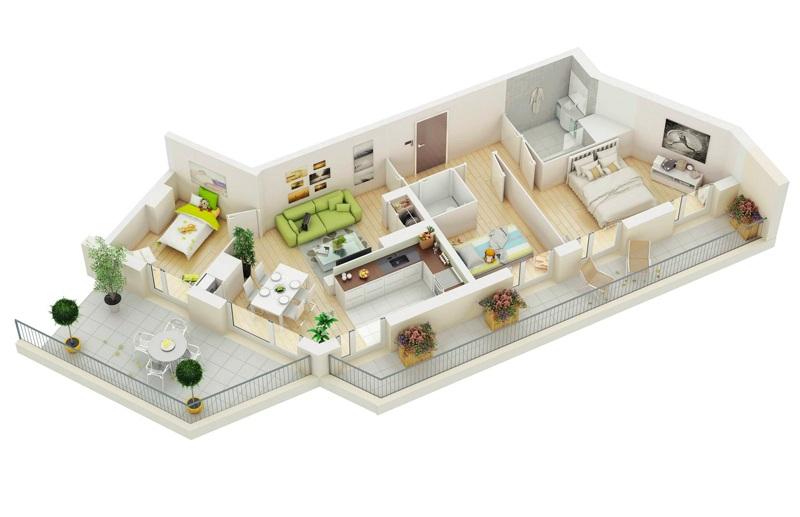 mô hình 3D căn hộ 3 phòng ngủ