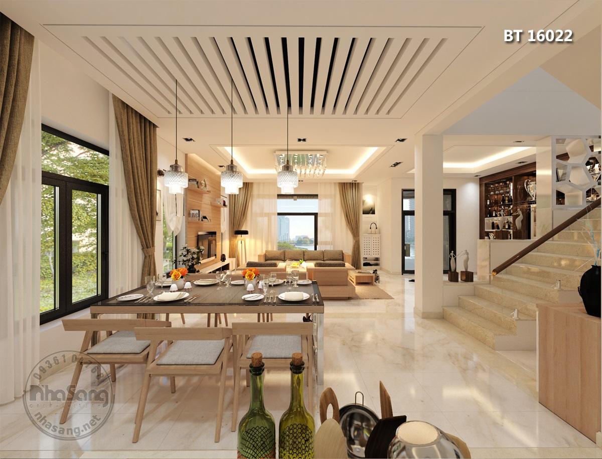 Phòng ăn thông phòng khách