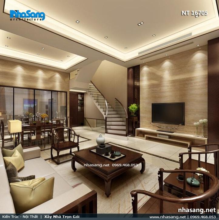 nội thất gỗ óc chó ang trọng phòng khách nhà phố 6m