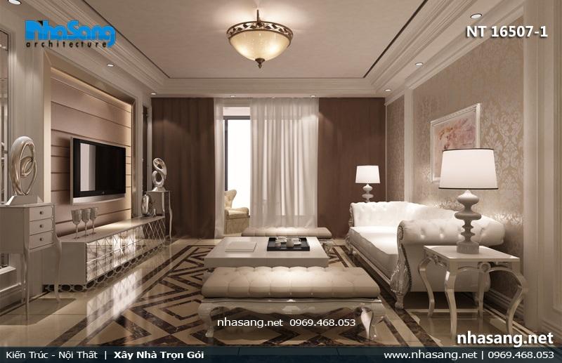 mẫu phòng khách tân cổ điển chung cư