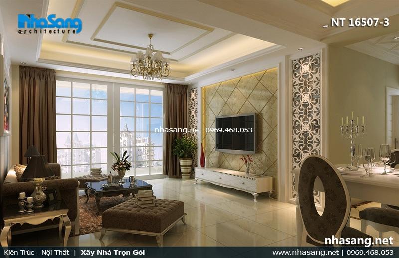 mẫu phòng khách tân cổ điển cho căn hộ chung cư