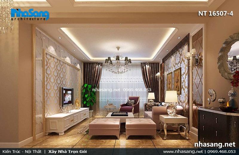 mẫu phòng khách tân cổ điển chung cư 4m x 5m