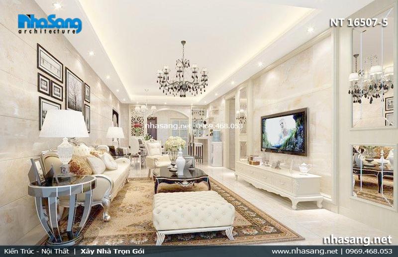 nội thất phong khách tân cổ điển biệt thự phố 6m